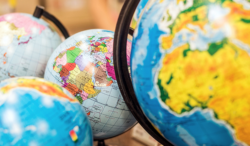 A set of various sized globes