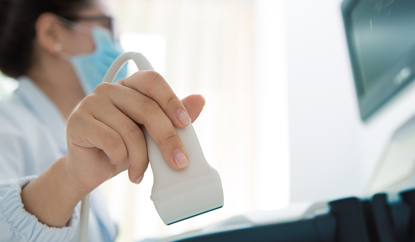A technician holds an ultrasound transducer in one hand while looking at a monitor