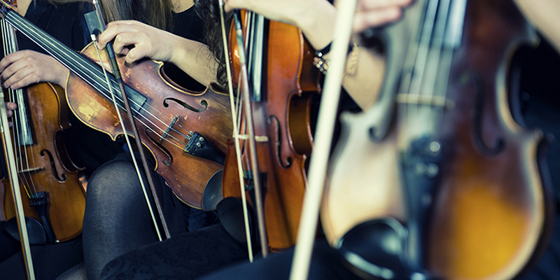 Students with violins resting on their laps.