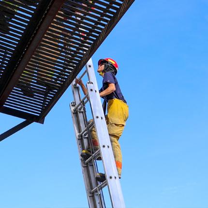 Firefighter on ladder