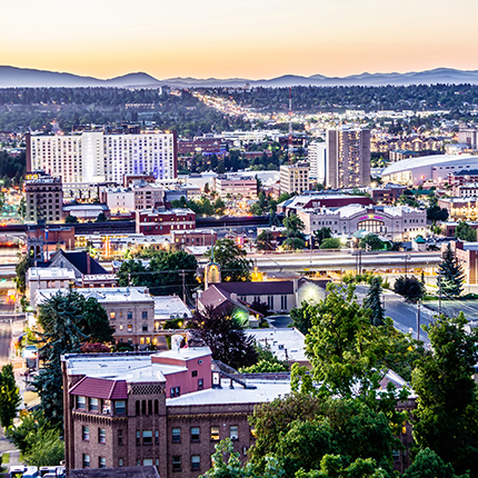 Image of downtown Spokane in the evening