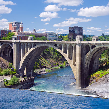 Spokane river flowing under the Monroe St Bridge