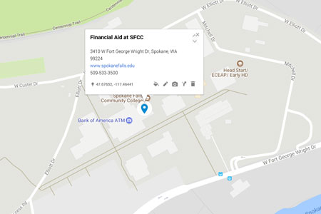 SFCC Financial Aid location on a map.