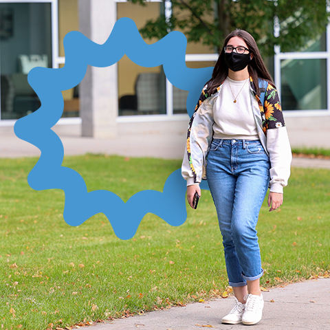 A student walking
