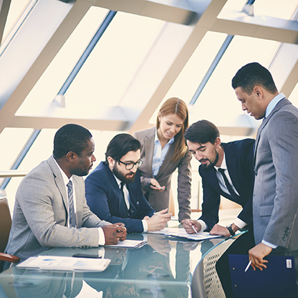 Diverse group of business people work together