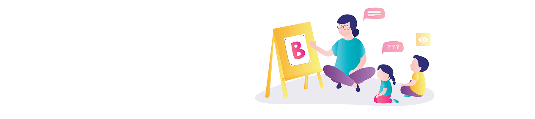 An illustration of a woman pointing to an easel showing the letter