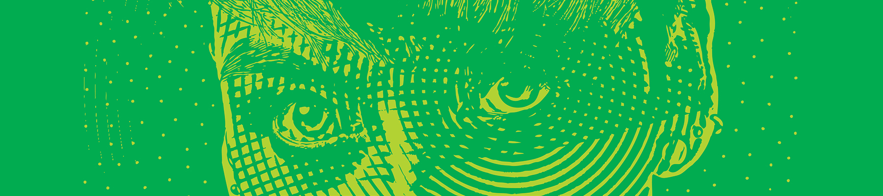 Green and yellow illustration of a super hero's eyes up close