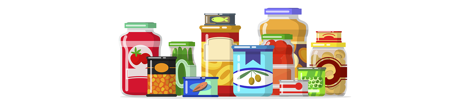 An illustration of several food pantry items