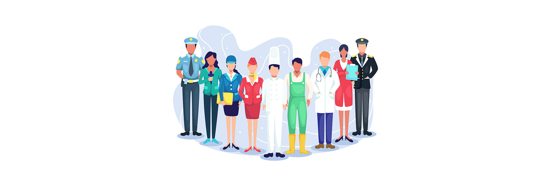 An illustration of a group of 9 people standing in a semi circle, they're all in different professions, like a cop, reporter, chef, doctor and more.