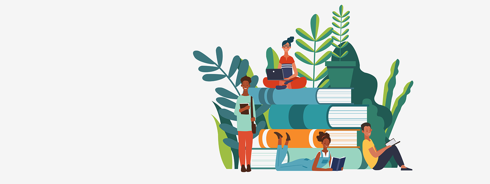 An illustration of students standing around a stack of books.