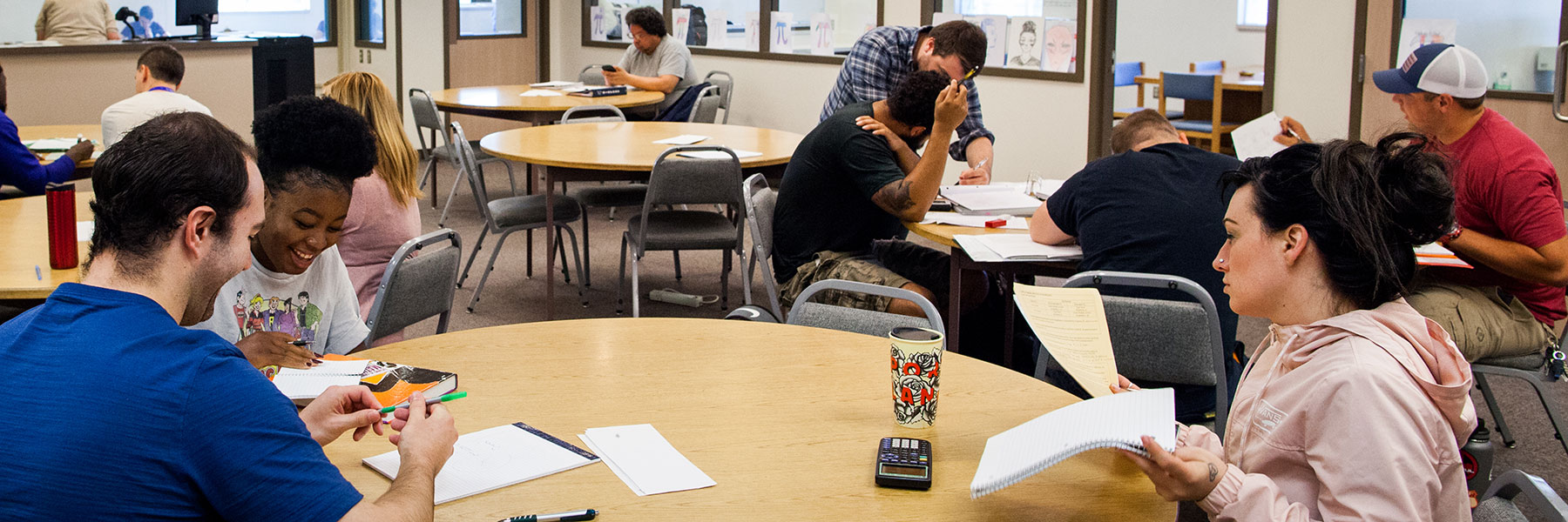 Students in the MESA math tutoring center