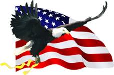 Bald eagle flying with yellow ribbon in front of American flag.