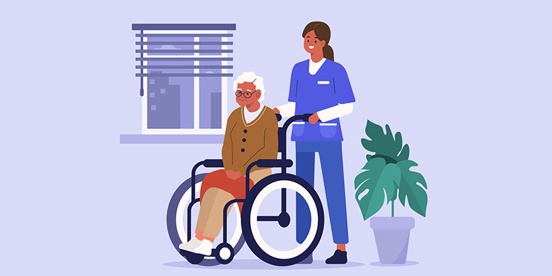 An illustration of a woman pushing an older woman in a wheelchair along as they both smile.