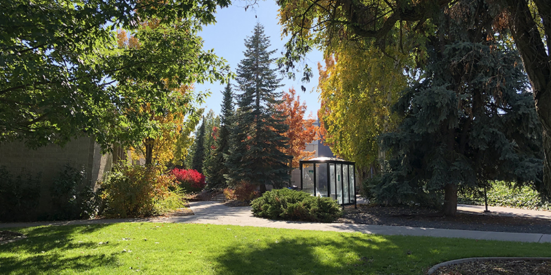 A bus stop at Spokane Community College pictured in Fall 2019