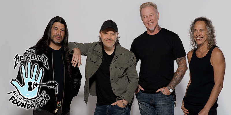 Metallica band members next to the All Within My Hands Foundation  logo