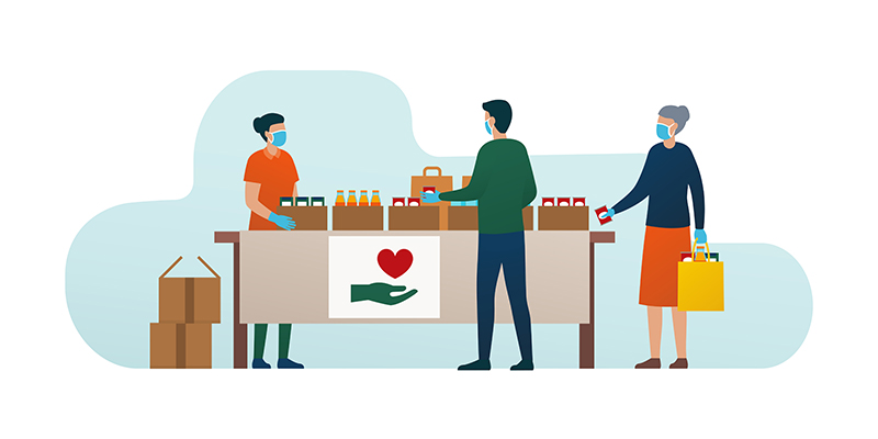 An illustration of people accepting food at a food bank
