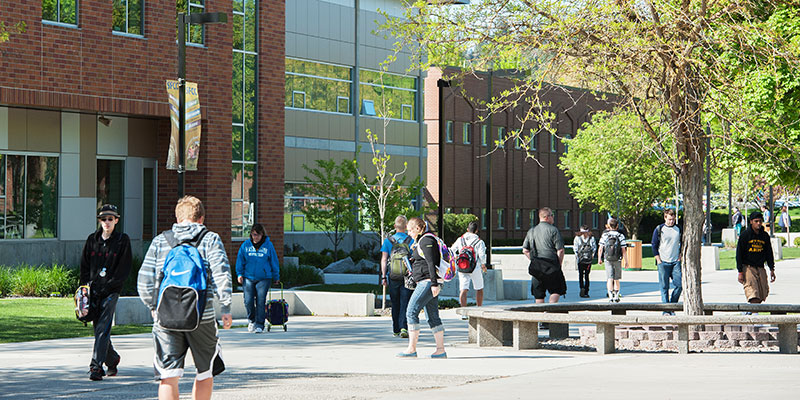 Students walking across the SFCC campus.
