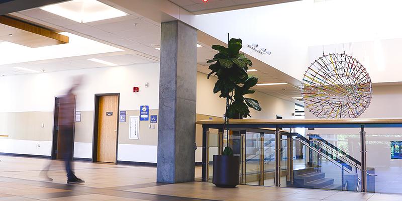 Inside the Falls Gateway building.
