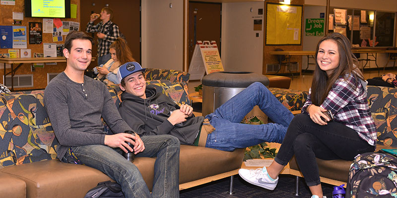 Students lounging in the SUB Building