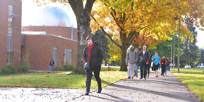 Students walking between classes at SFCC.