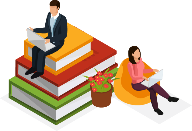 Illustrated people sitting on oversized books and studying on laptops