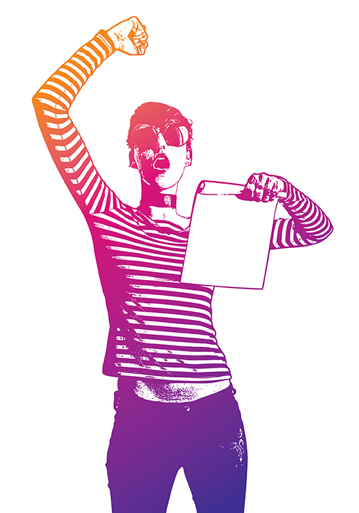 Colorful illustration of an androgynous person holding their fist in the air