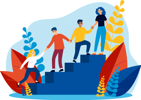 Illustrated people climbing a set of stairs.