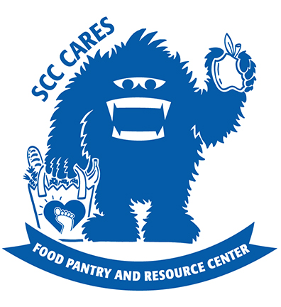 SCC Cares - Food & Resource Pantry. Skitch illustration holding an apple and grocery bag