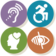 Disabled students advocate icon - four circles with icons for hearing, physical, visual, and mental impairment