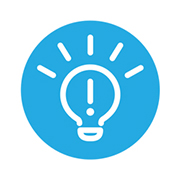 Enhanced topic icon - lightbulb with an explanation point in the middle