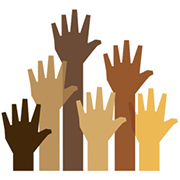 Students of color advocate - different skin color hands raised in the air