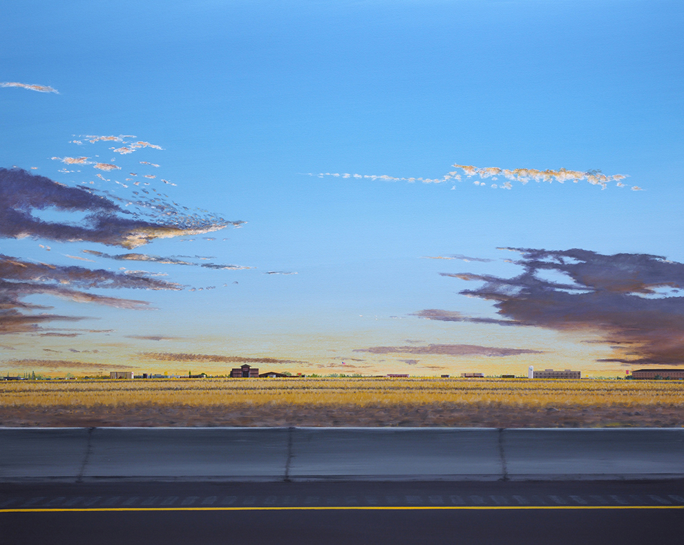 Painting of the view out of a moving car, or flat landscape at sunset