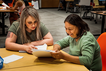 two females studying together