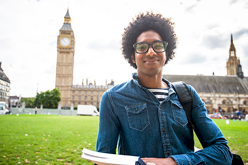 Male study abroad student in the United Kingdom.