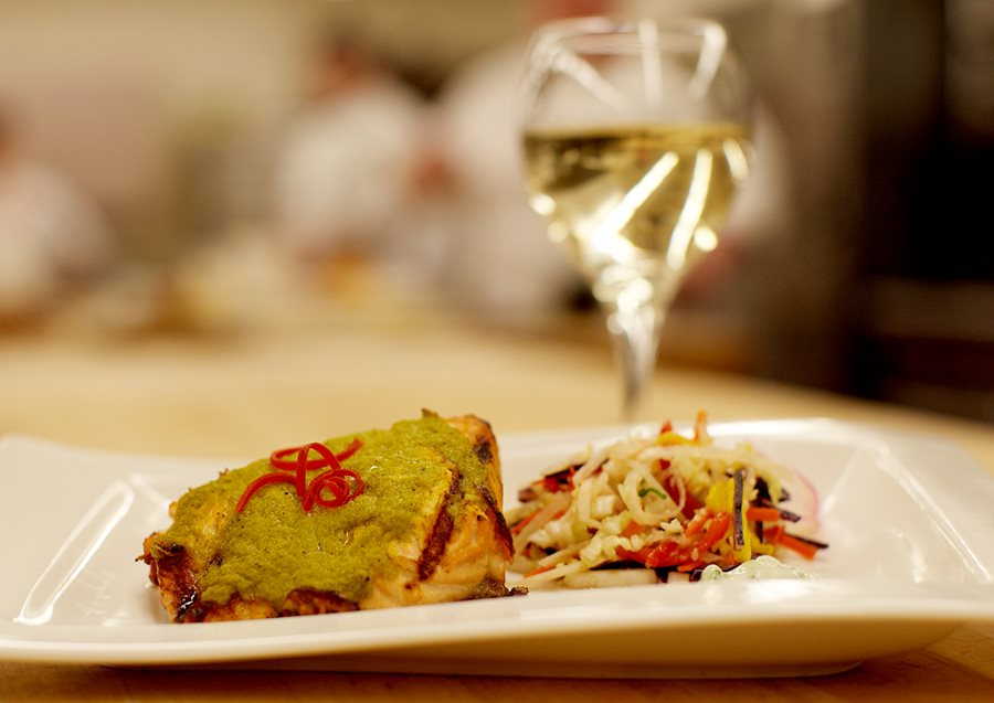 Plated food with white wine