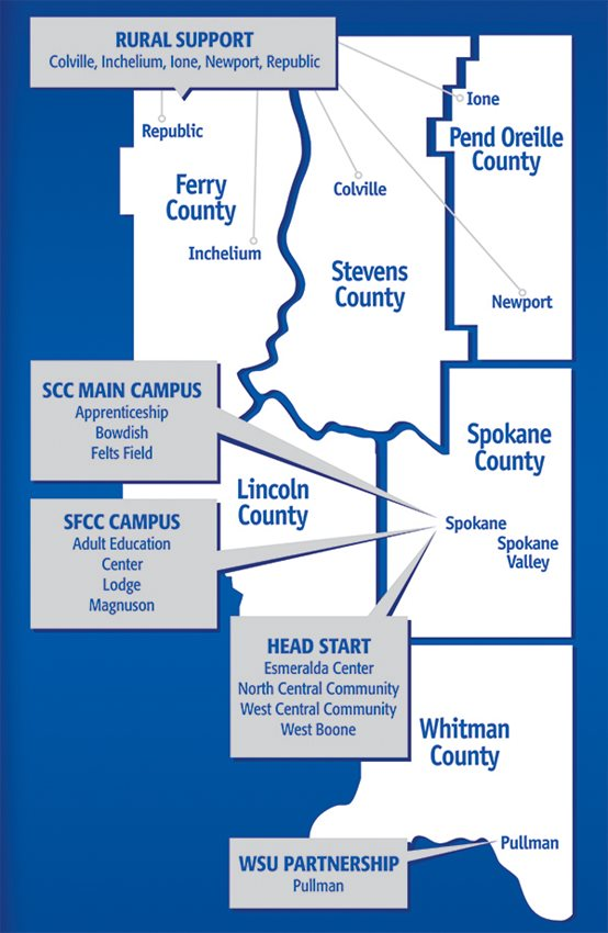 Illustrated Map of the CCS service areas five counties: Ferry,Stevens, Pend Oreille, Lincoln, Spokane, and Whitmann