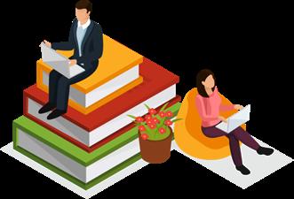 Illustration of students sitting on oversized stacks of books