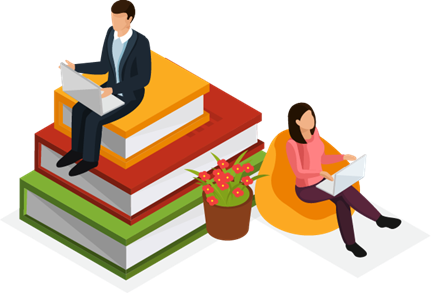 man and woman sitting on stacks of books illustration